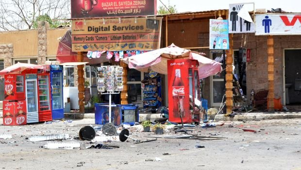 Debris is seen near shops damaged during a foiled suicide attack in Luxor