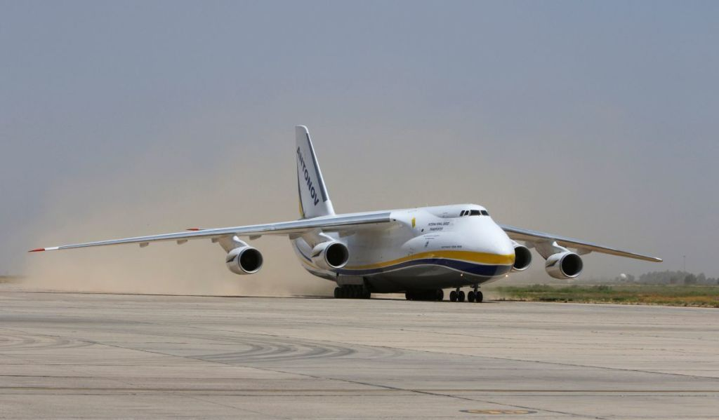An Antonov plane carrying a French weapon donation to the Iraqi government to help in its fight against Islamic State militants, lands in Baghdad, Iraq