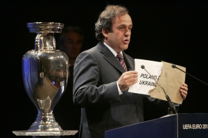 UEFA President Platini awards the Euro 2012 tournament to Poland and Ukraine in Wales