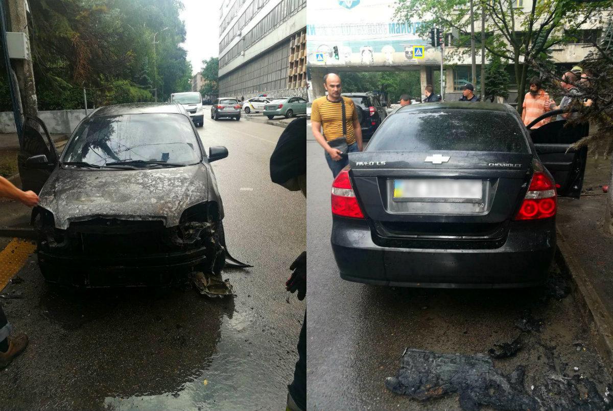 В Днепре на улице Гагарина загорелся автомобиль. Новости Днепра