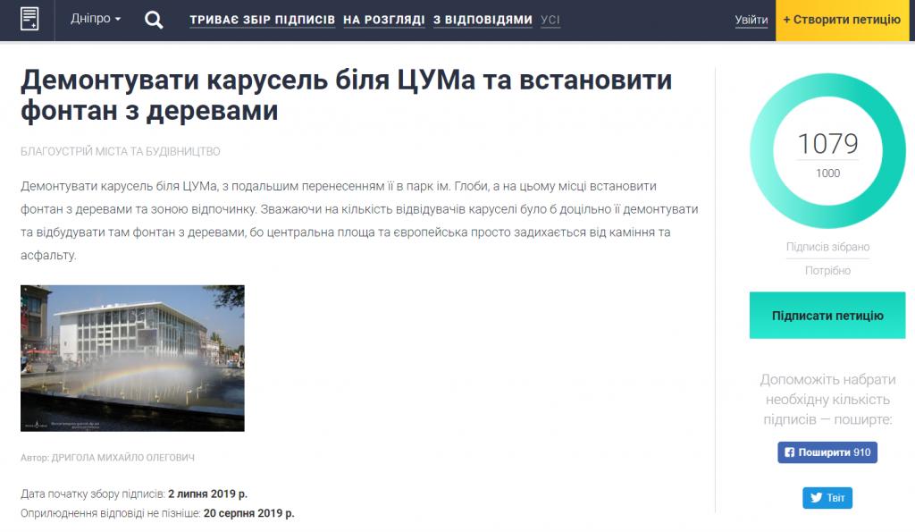 Петиция собрала нужное количество подписей. Новости Днепра