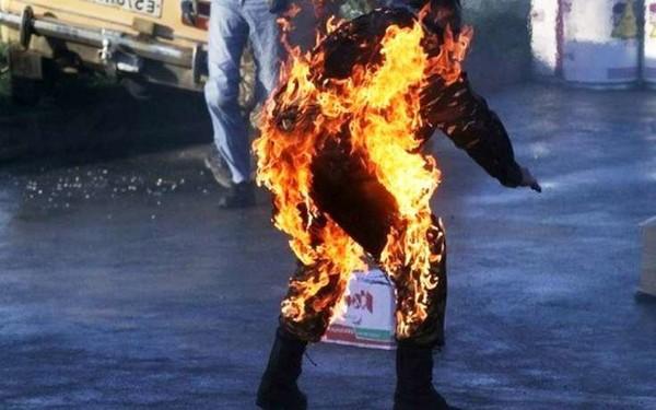 Пенсионер облил себя бензином и поджог из-за ссоры с бывшей женой . Новости Украины