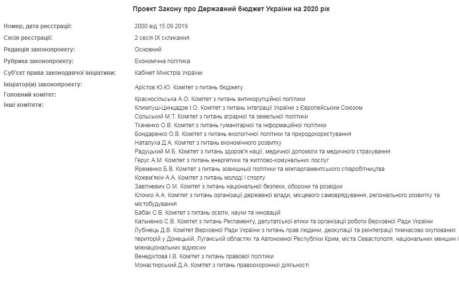 Верховная Рада рассмотрит проект Госбюджета-2020: что известно. Новости Украины