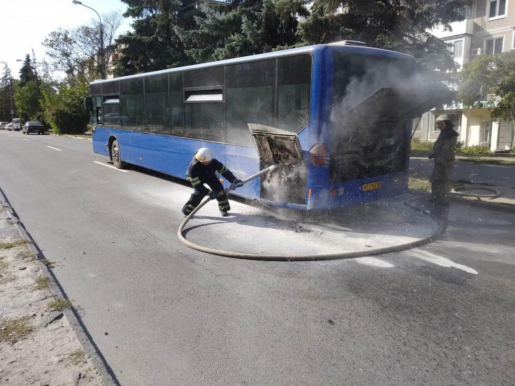 Загорелся автобус. Новости Днепра