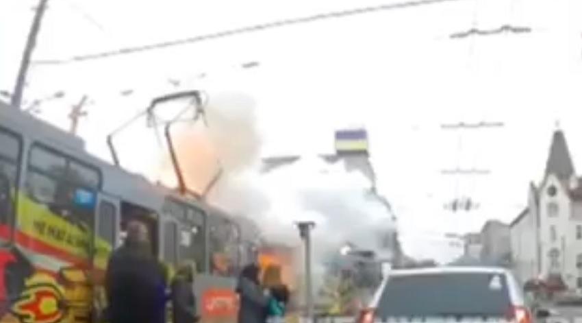 Пожар в 1-м трамвае в Днепре. Новости Днепра