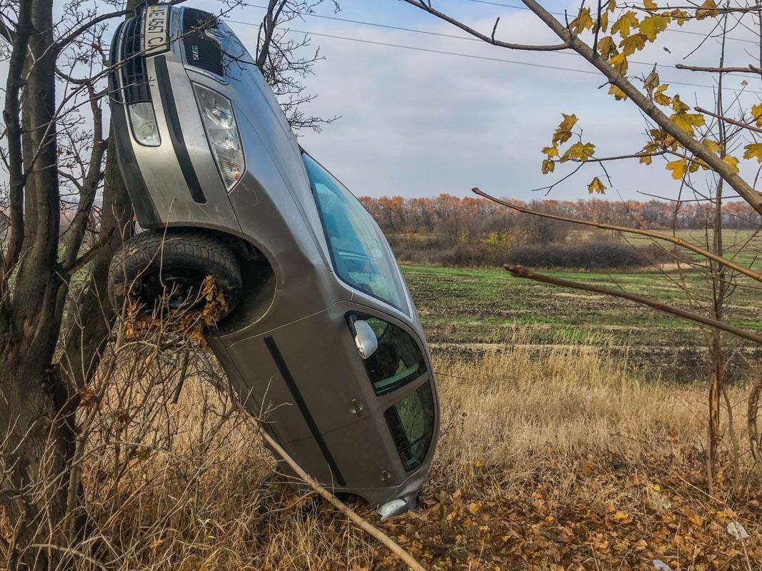 Из-за ДТП под Днепром авто повисло на дереве. Новости Днепра