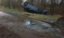 В Днепре автомобиль слетел в кювет и перевернулся