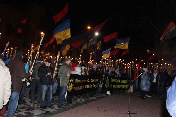 В Днепре состоялось факельное шествие в честь Степана Бандеры. Новости Днепра