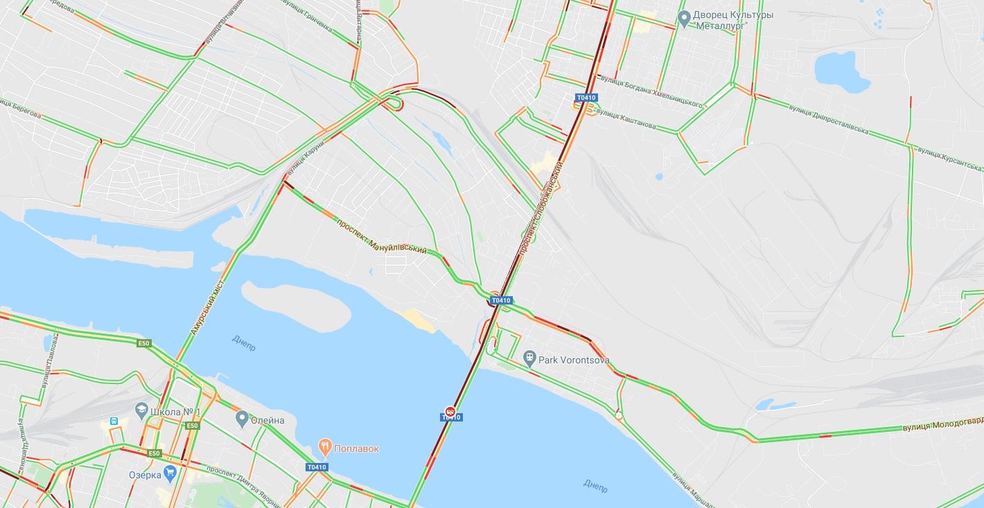 ДТП на Новом мосту: огромная пробка. Новости Днепра