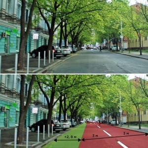 Вариант не предусматривает дорогой и длительной реконструкции улицы, но пространства хватит для всех. Новости Днепра