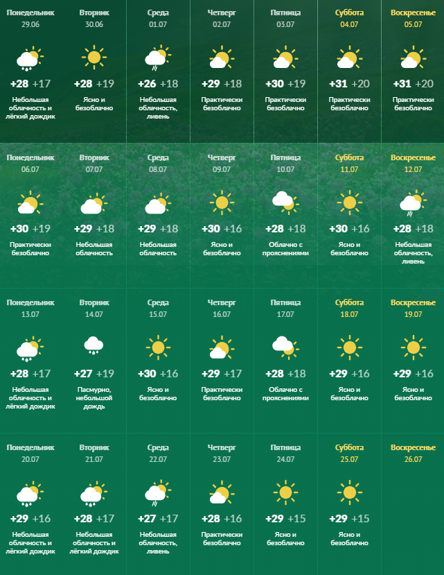 Днепр погода июль