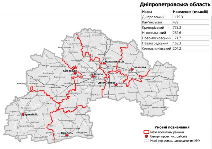 На Днепропетровщине останутся только 7 районов. Новости Днепра