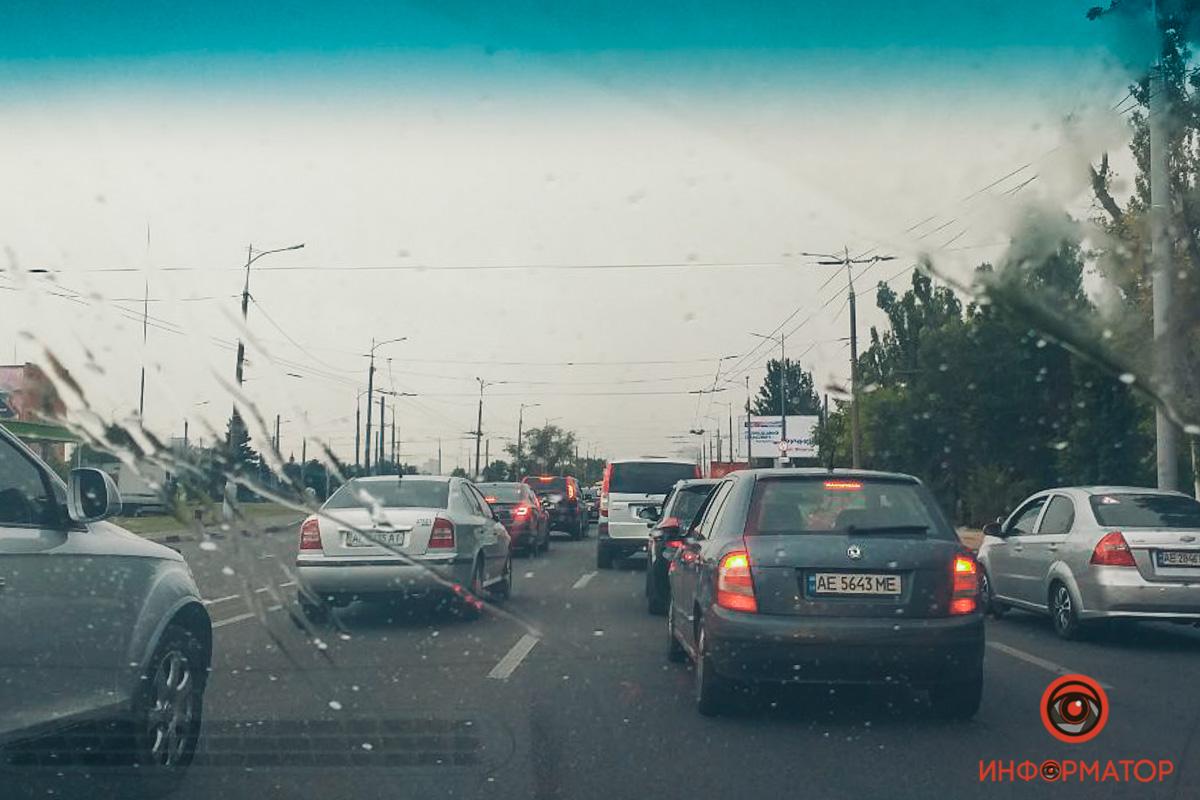 В Днепре на Новом мосту пробка. Новости Днепра
