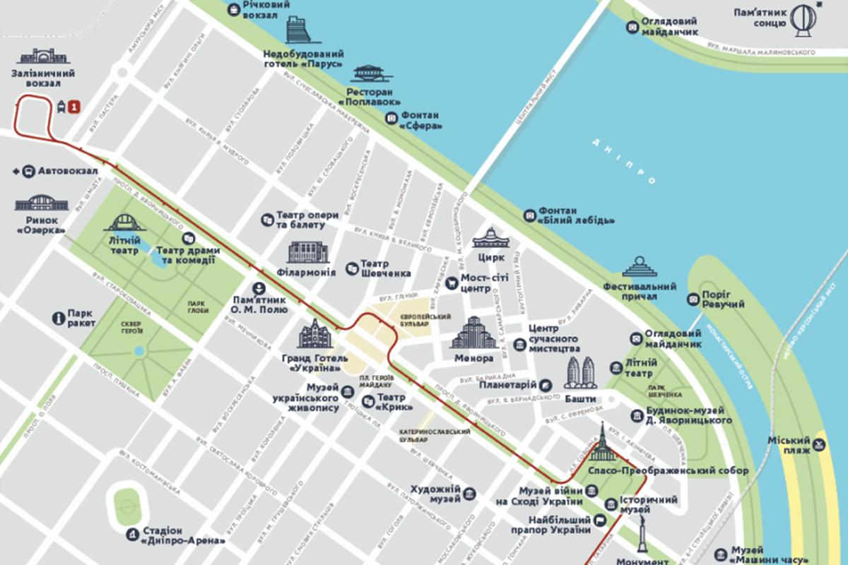 В Днепре появилась туристическая карта. Новости Днепра