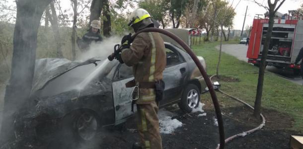 Автомобиль врезался в дерево и загорелся: подробности ДТП