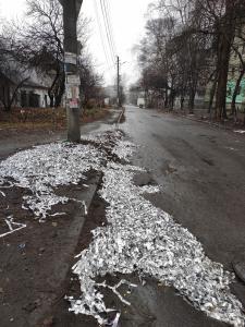 На окраине дороги лежит что-то, напоминающее фольгу, однако, в соцсетях утверждают, это – серпантин. Так необычно встретили Новый год местные жители. Новости Днепра