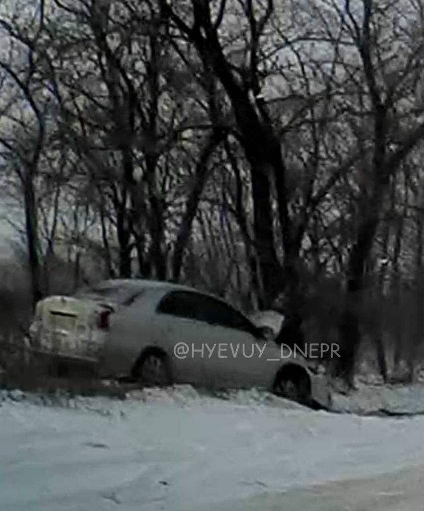 Авто влетело в дерево. Новости Днепра