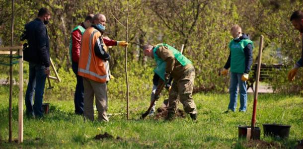 Консулы и представители израильского и французского культурных центров высадили деревья в парке Шевченко