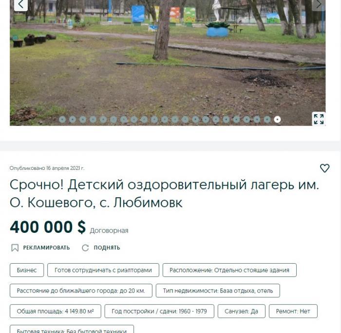 Новости Днепра про Детский оздоровительный лагерь в Любимовке продают за 400 тысяч долларов