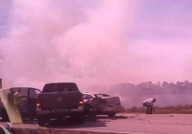Новости Днепра про Все в дыму: на трассе Днепр-Запорожье произошло ДТП с 5 авто