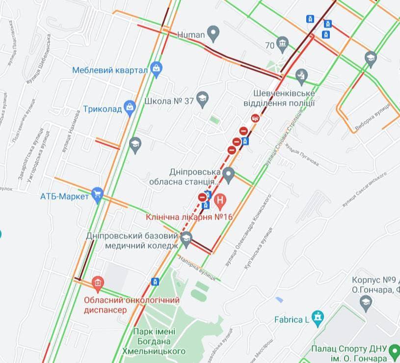 Новости Днепра про Проспект Хмельницкого до сих пор перекрыт после взрыва: образовались пробки